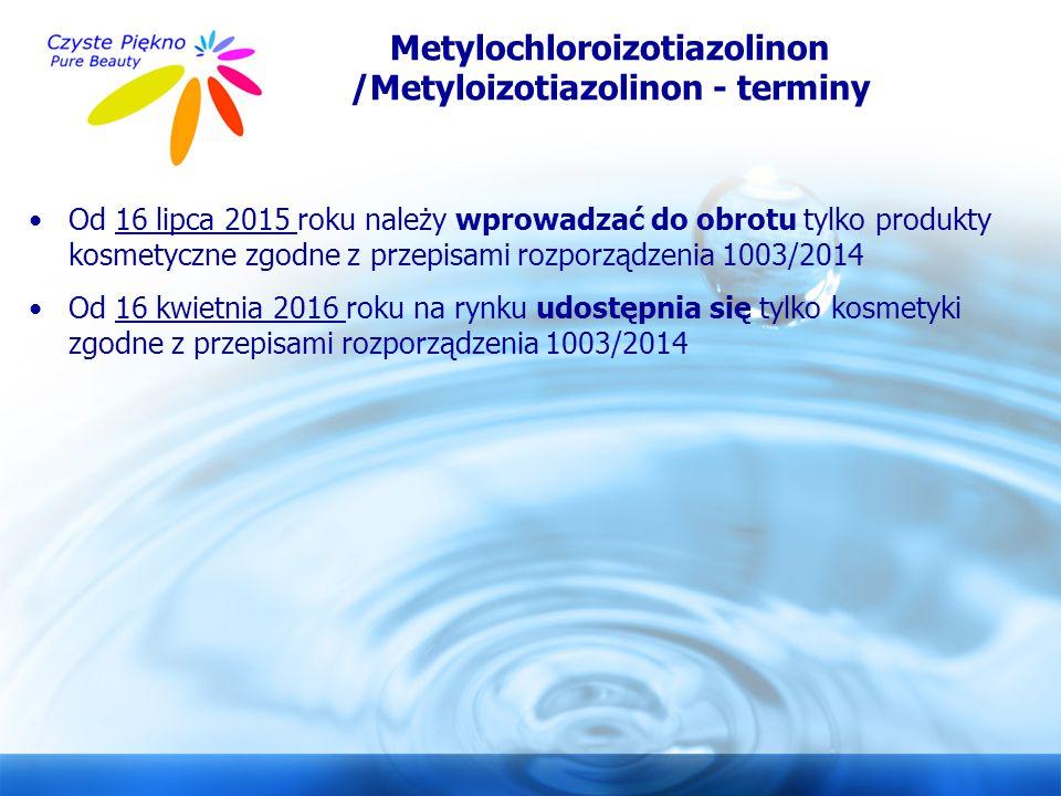 www.czystepiekno.pl Metylochloroizotiazolinon /Metyloizotiazolinon - terminy Od 16 lipca 2015 roku należy wprowadzać do obrotu tylko produkty kosmetyc