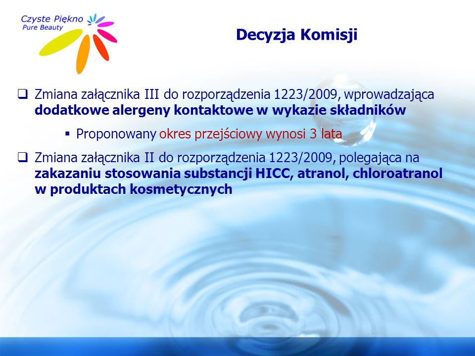 www.czystepiekno.pl Decyzja Komisji  Zmiana załącznika III do rozporządzenia 1223/2009, wprowadzająca dodatkowe alergeny kontaktowe w wykazie składni