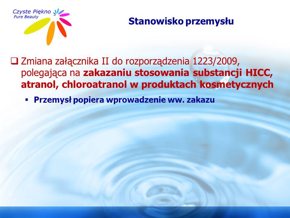 www.czystepiekno.pl  Zmiana załącznika II do rozporządzenia 1223/2009, polegająca na zakazaniu stosowania substancji HICC, atranol, chloroatranol w p