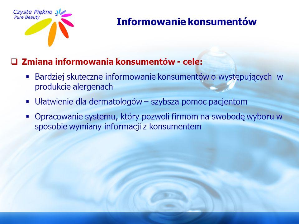 www.czystepiekno.pl Informowanie konsumentów  Zmiana informowania konsumentów - cele:  Bardziej skuteczne informowanie konsumentów o występujących w