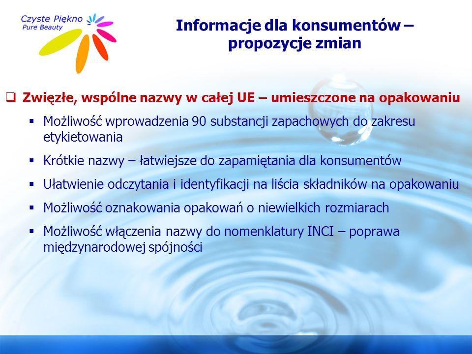 www.czystepiekno.pl Informacje dla konsumentów – propozycje zmian  Zwięzłe, wspólne nazwy w całej UE – umieszczone na opakowaniu  Możliwość wprowadz
