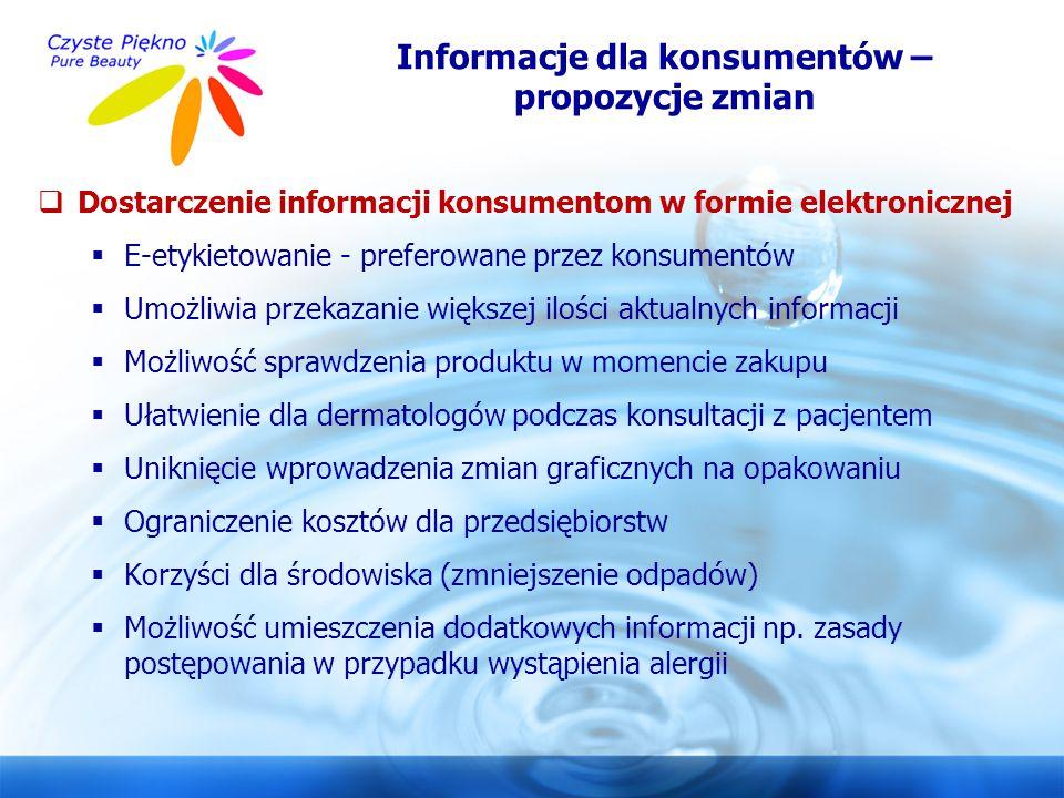 www.czystepiekno.pl  Dostarczenie informacji konsumentom w formie elektronicznej  E-etykietowanie - preferowane przez konsumentów  Umożliwia przeka