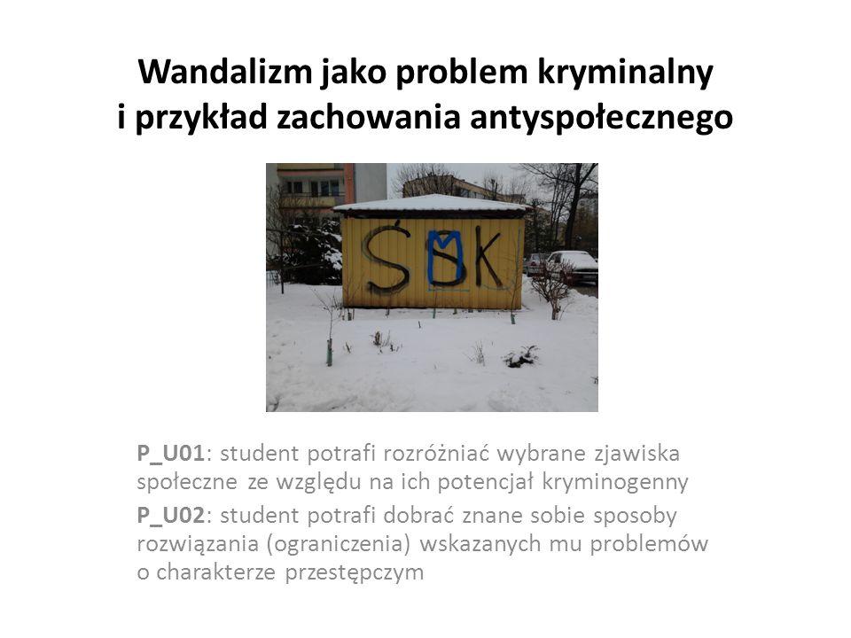 Wandalizm jako problem kryminalny i przykład zachowania antyspołecznego P_U01: student potrafi rozróżniać wybrane zjawiska społeczne ze względu na ich