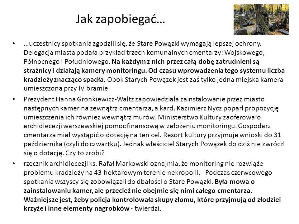 Jak zapobiegać… …uczestnicy spotkania zgodzili się, że Stare Powązki wymagają lepszej ochrony. Delegacja miasta podała przykład trzech komunalnych cme