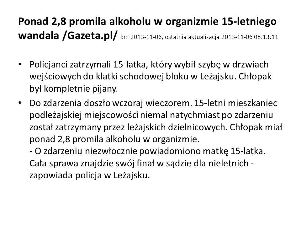 Ponad 2,8 promila alkoholu w organizmie 15-letniego wandala /Gazeta.pl/ km 2013-11-06, ostatnia aktualizacja 2013-11-06 08:13:11 Policjanci zatrzymali