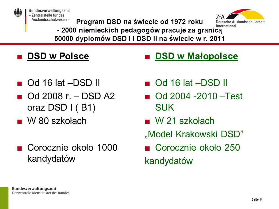 Seite: 9 Program DSD na świecie od 1972 roku - 2000 niemieckich pedagogów pracuje za granicą 50000 dyplomów DSD I i DSD II na świecie w r.