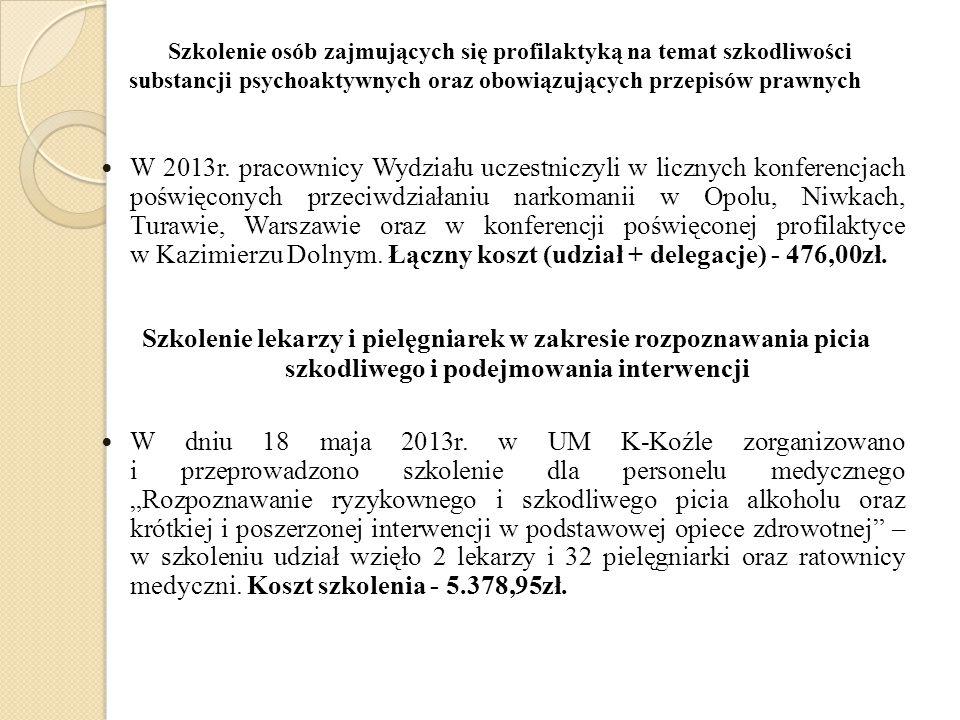 Szkolenie osób zajmujących się profilaktyką na temat szkodliwości substancji psychoaktywnych oraz obowiązujących przepisów prawnych W 2013r. pracownic