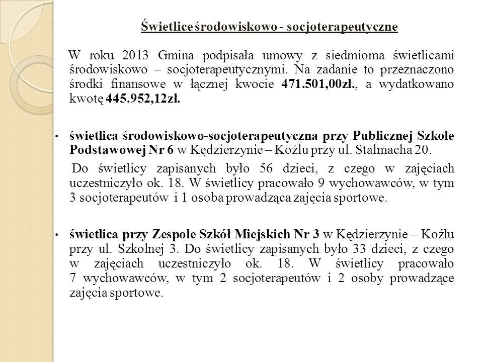 Świetlice środowiskowo - socjoterapeutyczne W roku 2013 Gmina podpisała umowy z siedmioma świetlicami środowiskowo – socjoterapeutycznymi. Na zadanie