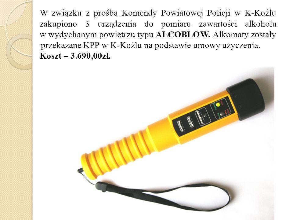 W związku z prośbą Komendy Powiatowej Policji w K-Koźlu zakupiono 3 urządzenia do pomiaru zawartości alkoholu w wydychanym powietrzu typu ALCOBLOW. Al