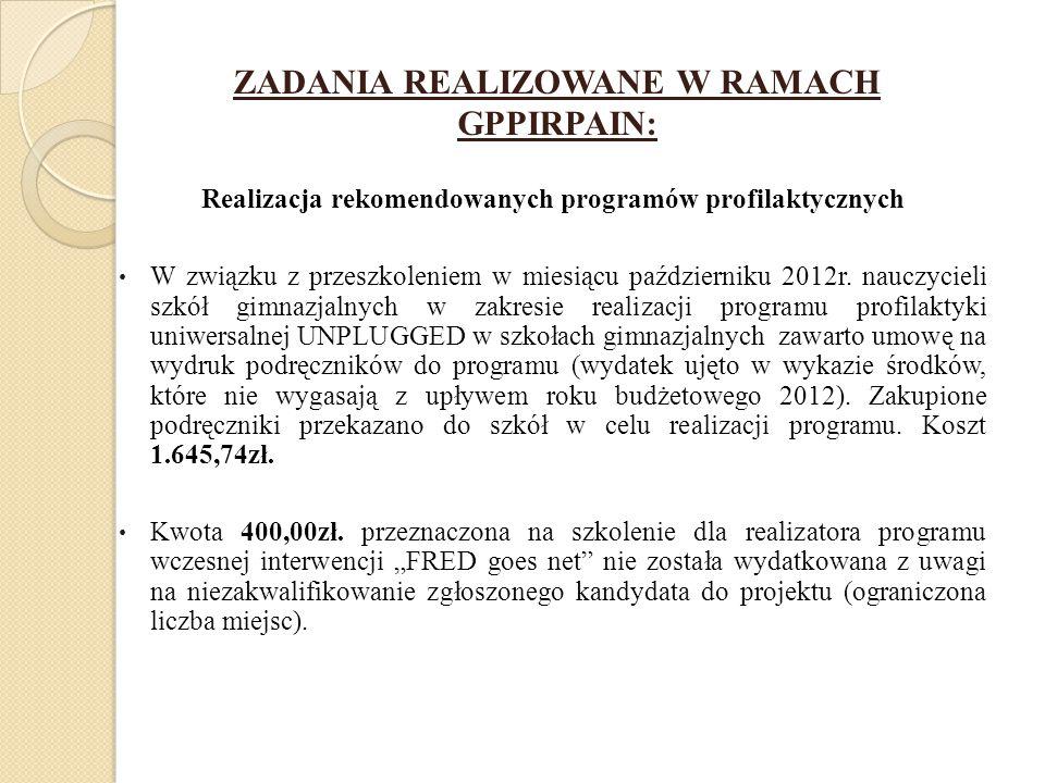 ZADANIA REALIZOWANE W RAMACH GPPIRPAIN: Realizacja rekomendowanych programów profilaktycznych W związku z przeszkoleniem w miesiącu październiku 2012r