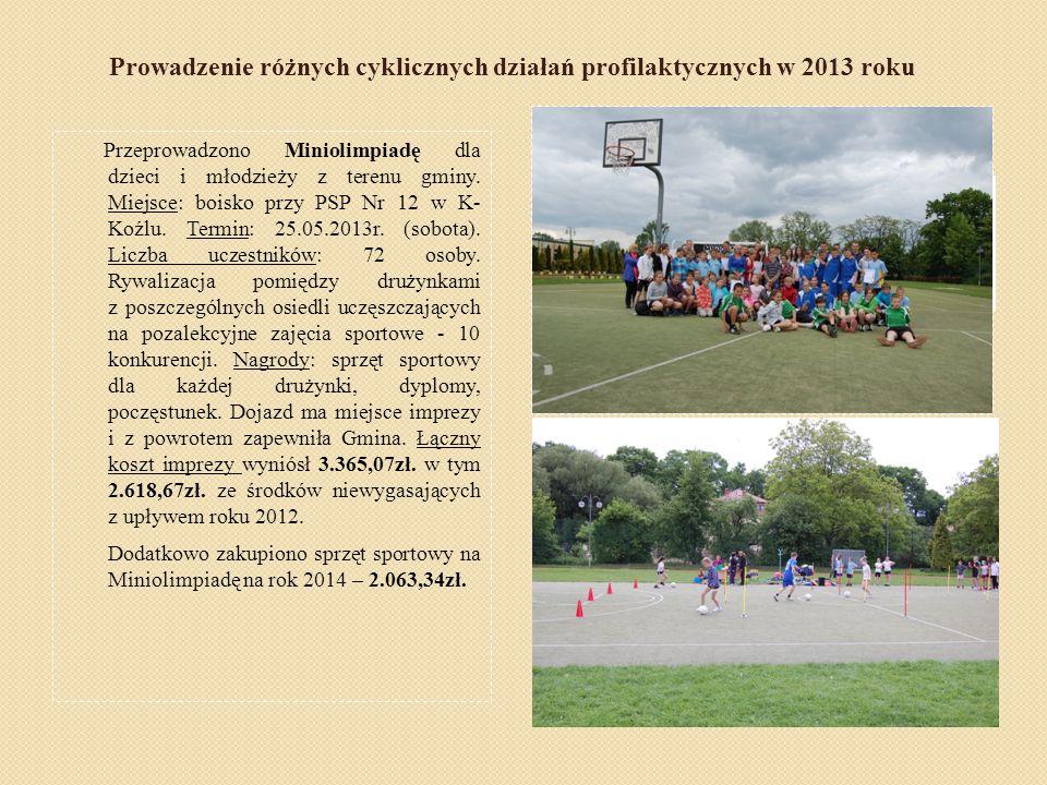 Prowadzenie różnych cyklicznych działań profilaktycznych w 2013 roku Przeprowadzono Miniolimpiadę dla dzieci i młodzieży z terenu gminy. Miejsce: bois
