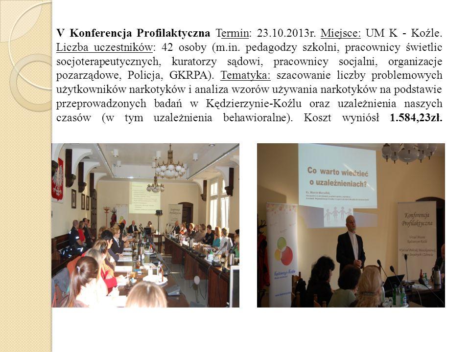 V Konferencja Profilaktyczna Termin: 23.10.2013r. Miejsce: UM K - Koźle. Liczba uczestników: 42 osoby (m.in. pedagodzy szkolni, pracownicy świetlic so
