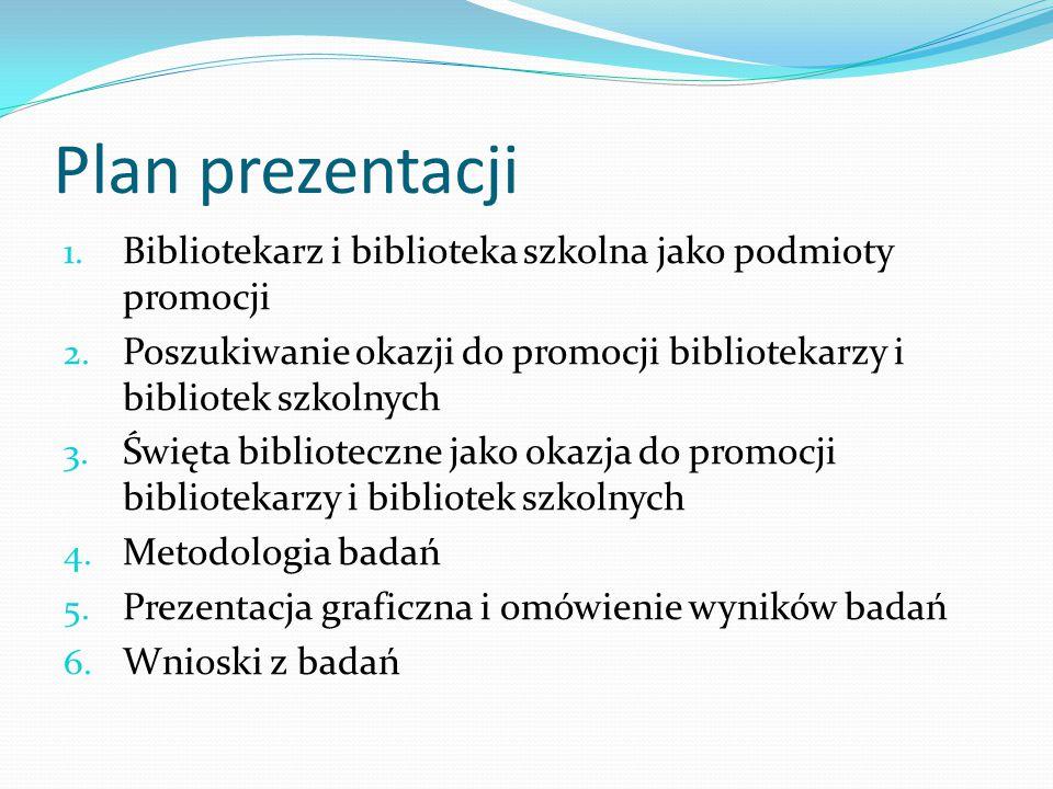 Plan prezentacji 1. Bibliotekarz i biblioteka szkolna jako podmioty promocji 2. Poszukiwanie okazji do promocji bibliotekarzy i bibliotek szkolnych 3.