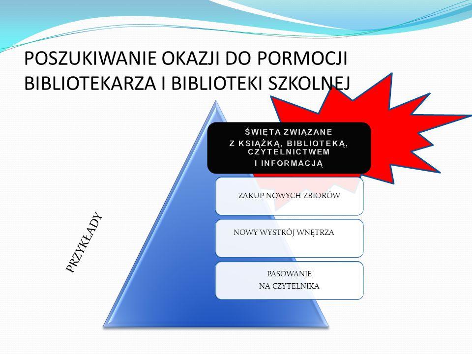 1 Święta związane z książką, biblioteką, czytelnictwem i informacją 2 mogą służyć rozwijaniu czy pobudzaniu zainteresowań czytelniczych 3 ale również jako okazja do promocji biblioteki i zawodu bibliotekarza