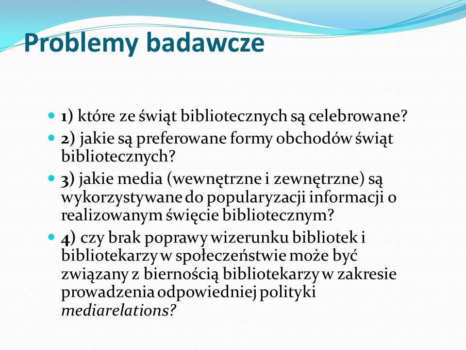 METODOLOGIA BADAŃ Przedmioty badań: 1) realizacja świąt bibliotecznych w bibliotekach szkolnych Łodzi 2) formy promocji realizowanych świąt bibliotecznych 3) informacja o realizowanych świętach w mediach Termin badań: styczeń 2014