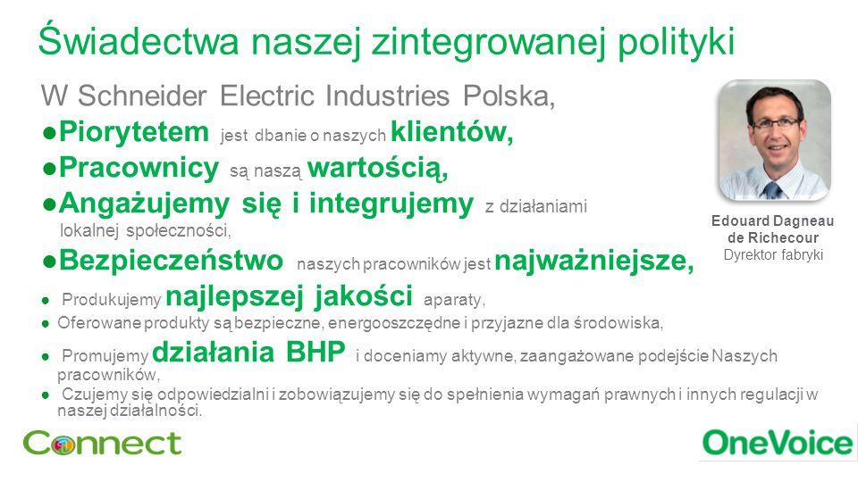 Świadectwa naszej zintegrowanej polityki W Schneider Electric Industries Polska, ●Piorytetem jest dbanie o naszych klientów, ●Pracownicy są naszą wartością, ●Angażujemy się i integrujemy z działaniami lokalnej społeczności, ●Bezpieczeństwo naszych pracowników jest najważniejsze, ● Produkujemy najlepszej jakości aparaty, ●Oferowane produkty są bezpieczne, energooszczędne i przyjazne dla środowiska, ● Promujemy działania BHP i doceniamy aktywne, zaangażowane podejście Naszych pracowników, ● Czujemy się odpowiedzialni i zobowiązujemy się do spełnienia wymagań prawnych i innych regulacji w naszej działalności.