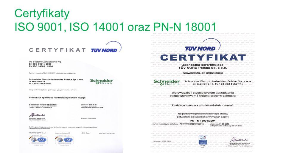 Certyfikaty ISO 9001, ISO 14001 oraz PN-N 18001
