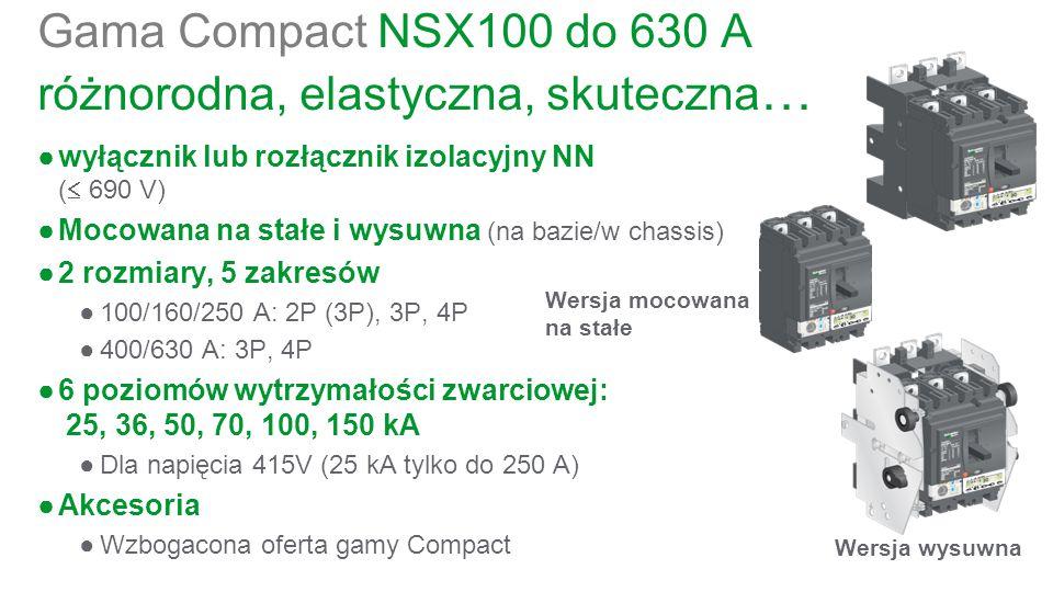Gama Compact NSX100 do 630 A różnorodna, elastyczna, skuteczna … ●wyłącznik lub rozłącznik izolacyjny NN (  690 V) ●Mocowana na stałe i wysuwna (na bazie/w chassis) ●2 rozmiary, 5 zakresów ●100/160/250 A: 2P (3P), 3P, 4P ●400/630 A: 3P, 4P ●6 poziomów wytrzymałości zwarciowej: 25, 36, 50, 70, 100, 150 kA ●Dla napięcia 415V (25 kA tylko do 250 A) ●Akcesoria ●Wzbogacona oferta gamy Compact Wersja mocowana na stałe Wersja wysuwna