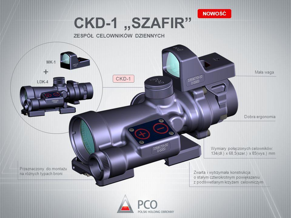 """CKD-1 """"SZAFIR"""" ZESPÓŁ CELOWNIKÓW DZIENNYCH NOWOŚĆ Przeznaczony do montażu na różnych typach broni Zwarta i wytrzymała konstrukcja o stałym czterokrotn"""