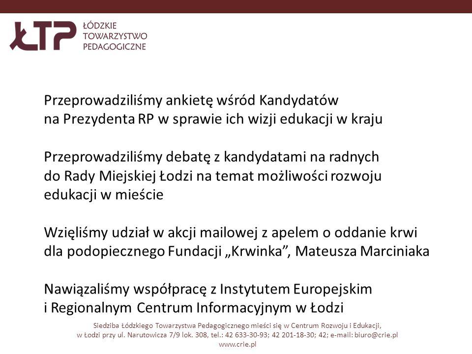 Siedziba Łódzkiego Towarzystwa Pedagogicznego mieści się w Centrum Rozwoju i Edukacji, w Łodzi przy ul.