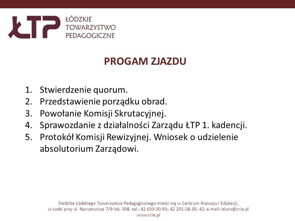 PROGAM ZJAZDU Siedziba Łódzkiego Towarzystwa Pedagogicznego mieści się w Centrum Rozwoju i Edukacji, w Łodzi przy ul.