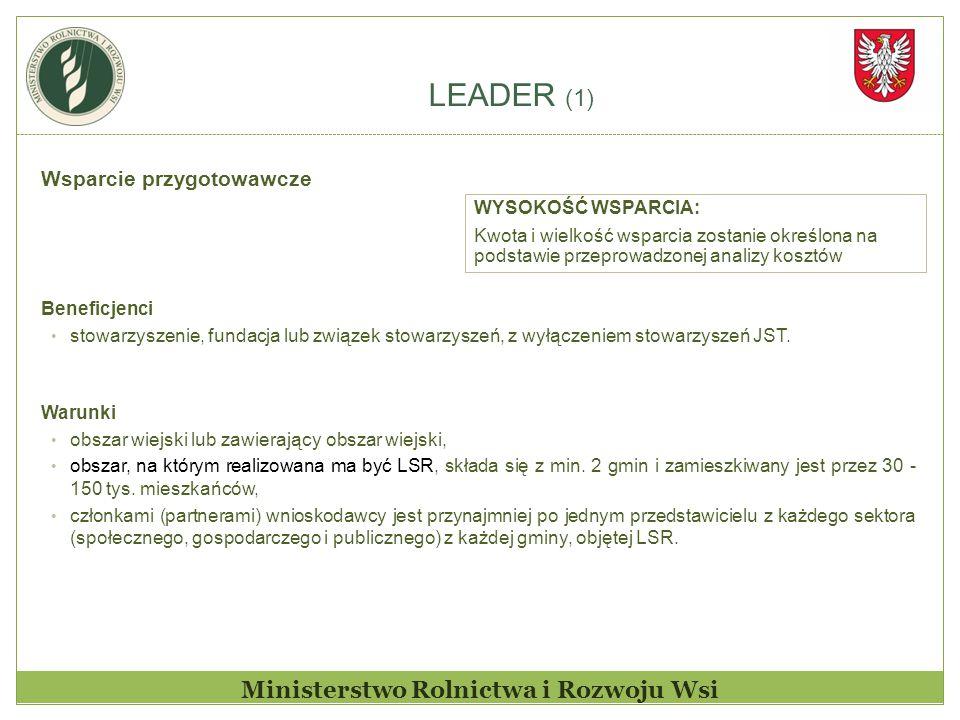 LEADER (1) Ministerstwo Rolnictwa i Rozwoju Wsi Wsparcie przygotowawcze Beneficjenci stowarzyszenie, fundacja lub związek stowarzyszeń, z wyłączeniem