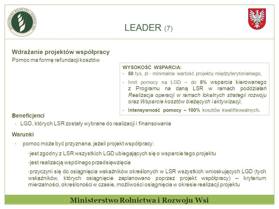 LEADER (7) Ministerstwo Rolnictwa i Rozwoju Wsi Wdrażanie projektów współpracy Pomoc ma formę refundacji kosztów Beneficjenci LGD, których LSR zostały