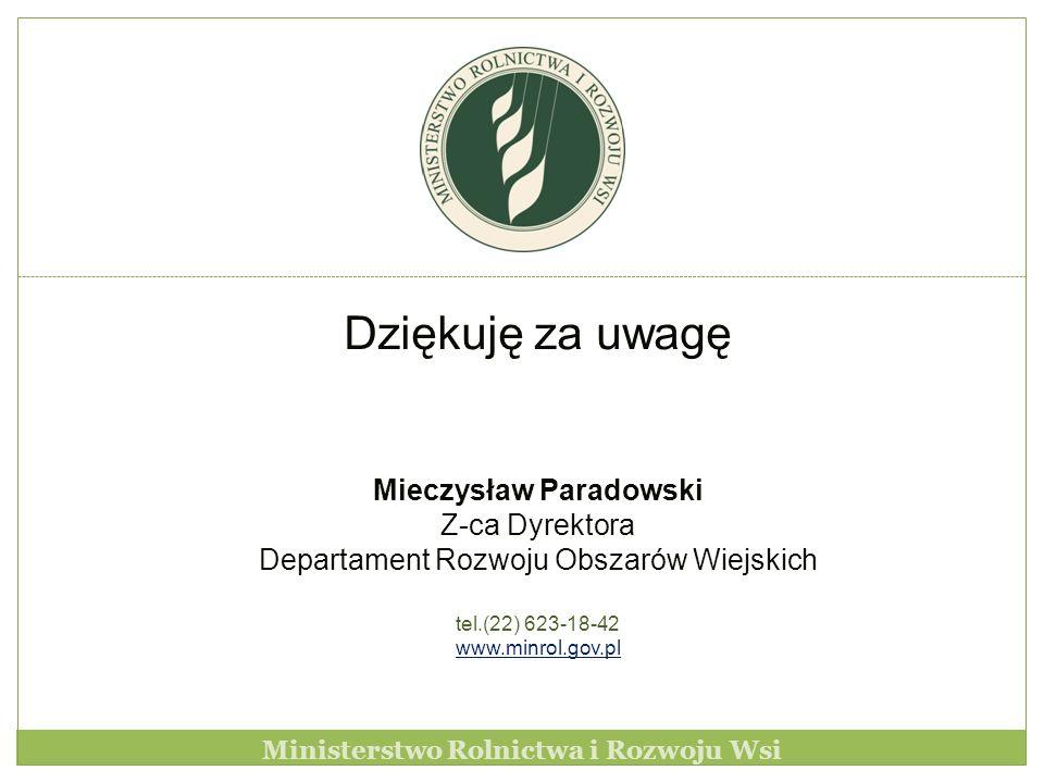 Dziękuję za uwagę Mieczysław Paradowski Z-ca Dyrektora Departament Rozwoju Obszarów Wiejskich tel.(22) 623-18-42 www.minrol.gov.pl Ministerstwo Rolnic