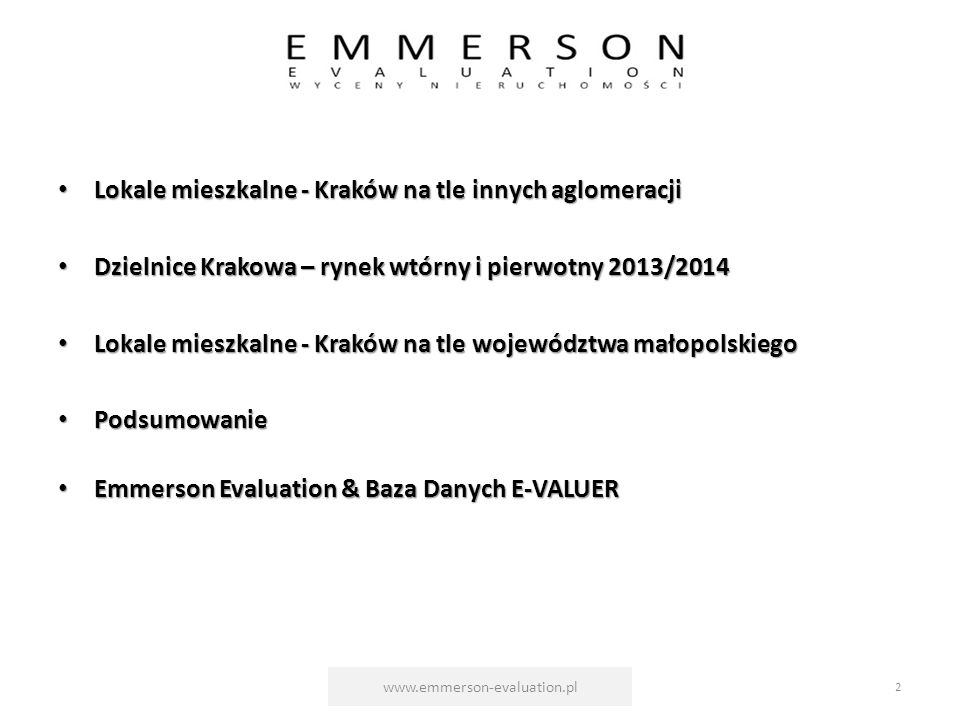 EMMERSON EVALUATION & BAZA DANYCH E-VALUER www.emmerson-evaluation.pl23