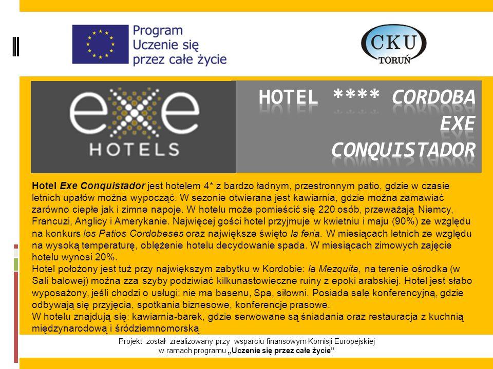 """Projekt został zrealizowany przy wsparciu finansowym Komisji Europejskiej w ramach programu """"Uczenie się przez całe życie Hotel Exe Conquistador jest hotelem 4* z bardzo ładnym, przestronnym patio, gdzie w czasie letnich upałów można wypocząć."""