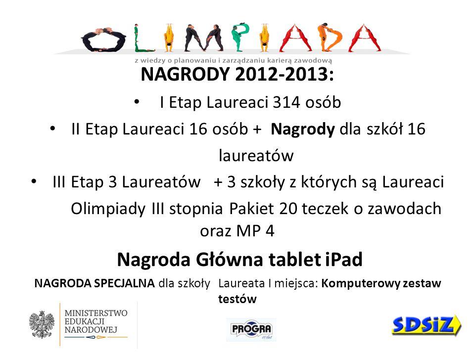 NAGRODY 2012-2013: I Etap Laureaci 314 osób II Etap Laureaci 16 osób + Nagrody dla szkół 16 laureatów III Etap 3 Laureatów + 3 szkoły z których są Lau