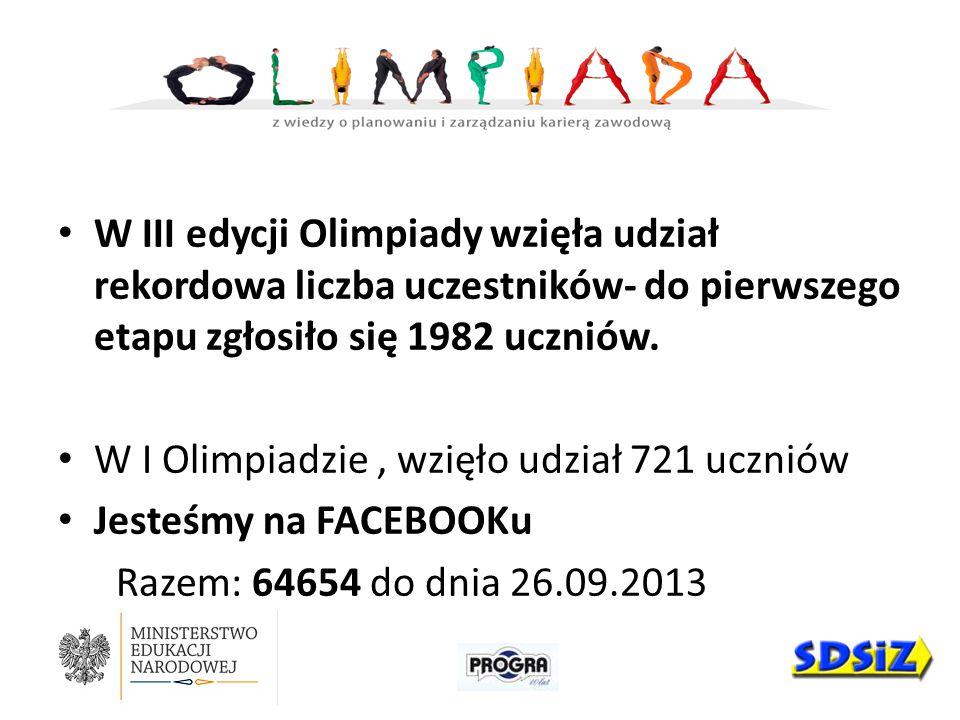 W III edycji Olimpiady wzięła udział rekordowa liczba uczestników- do pierwszego etapu zgłosiło się 1982 uczniów. W I Olimpiadzie, wzięło udział 721 u