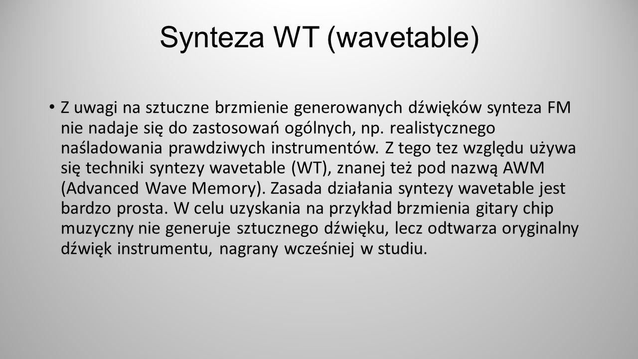Synteza WT (wavetable) Z uwagi na sztuczne brzmienie generowanych dźwięków synteza FM nie nadaje się do zastosowań ogólnych, np. realistycznego naślad