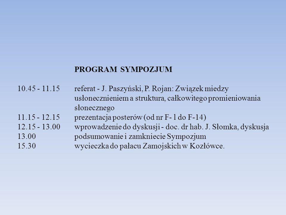 PROGRAM SYMPOZJUM 10.45 - 11.15 referat - J. Paszyński, P. Rojan: Związek miedzy usłonecznieniem a struktura, całkowitego promieniowania słonecznego 1