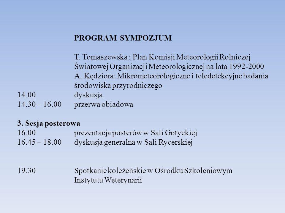 PROGRAM SYMPOZJUM T. Tomaszewska : Plan Komisji Meteorologii Rolniczej Światowej Organizacji Meteorologicznej na lata 1992-2000 A. Kędziora: Mikromete