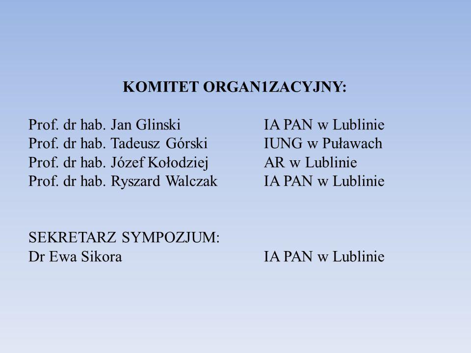 KOMITET ORGAN1ZACYJNY: Prof. dr hab. Jan GlinskiIA PAN w Lublinie Prof. dr hab. Tadeusz GórskiIUNG w Puławach Prof. dr hab. Józef KołodziejAR w Lublin