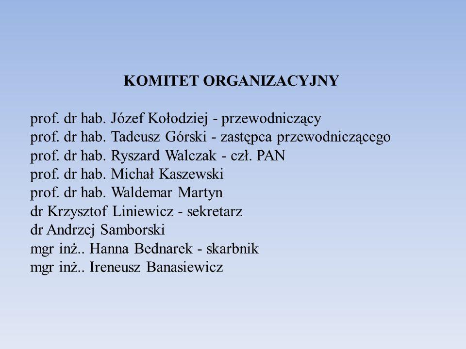 KOMITET ORGANIZACYJNY prof. dr hab. Józef Kołodziej - przewodniczący prof. dr hab. Tadeusz Górski - zastępca przewodniczącego prof. dr hab. Ryszard Wa