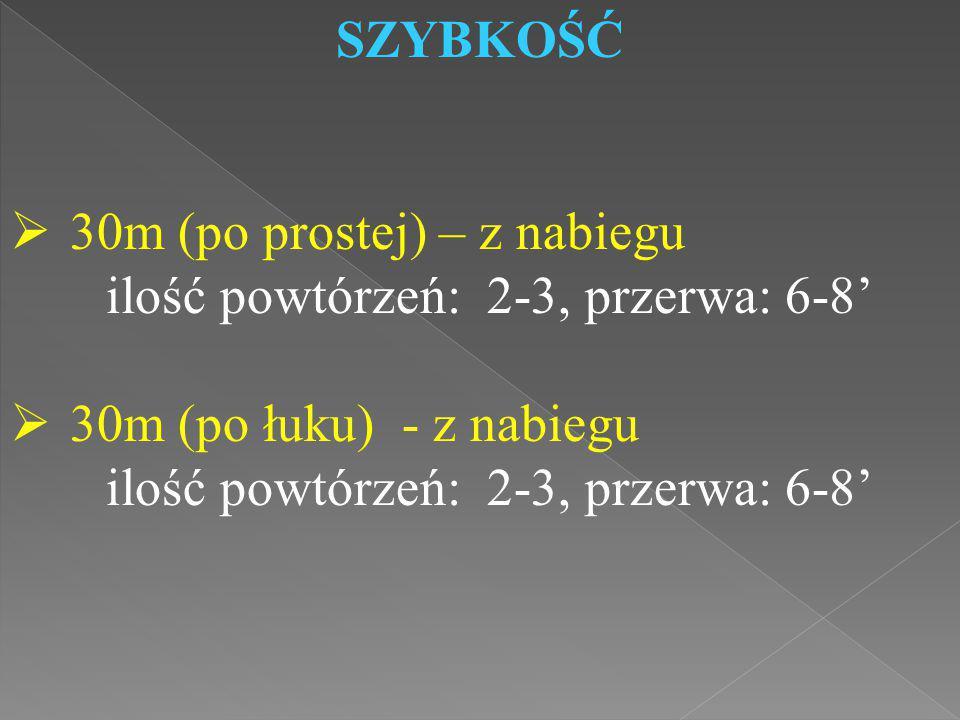 SZYBKOŚĆ  30m (po prostej) – z nabiegu ilość powtórzeń: 2-3, przerwa: 6-8'  30m (po łuku) - z nabiegu ilość powtórzeń: 2-3, przerwa: 6-8'