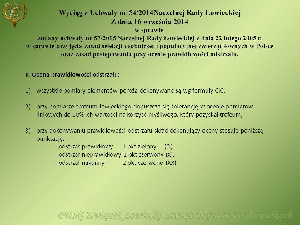 II. Ocena prawidłowości odstrzału: 1)wszystkie pomiary elementów poroża dokonywane są wg formuły CIC; 2)przy pomiarze trofeum łowieckiego dopuszcza si