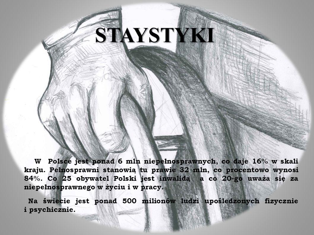 STAYSTYKI W Polsce jest ponad 6 mln niepełnosprawnych, co daje 16% w skali kraju. Pełnosprawni stanowią tu prawie 32 mln, co procentowo wynosi 84%. Co
