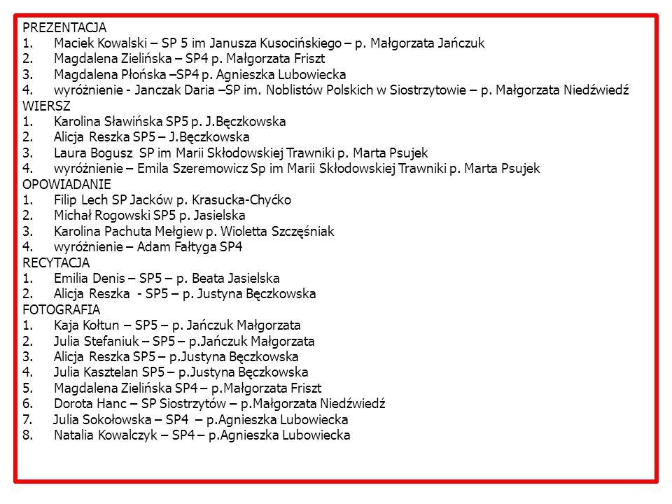 PREZENTACJA 1. Maciek Kowalski – SP 5 im Janusza Kusocińskiego – p.