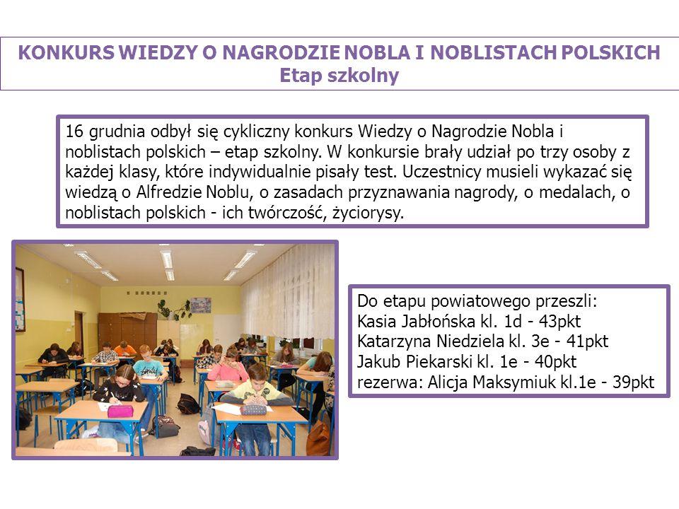 KONKURS WIEDZY O NAGRODZIE NOBLA I NOBLISTACH POLSKICH Etap szkolny Do etapu powiatowego przeszli: Kasia Jabłońska kl.
