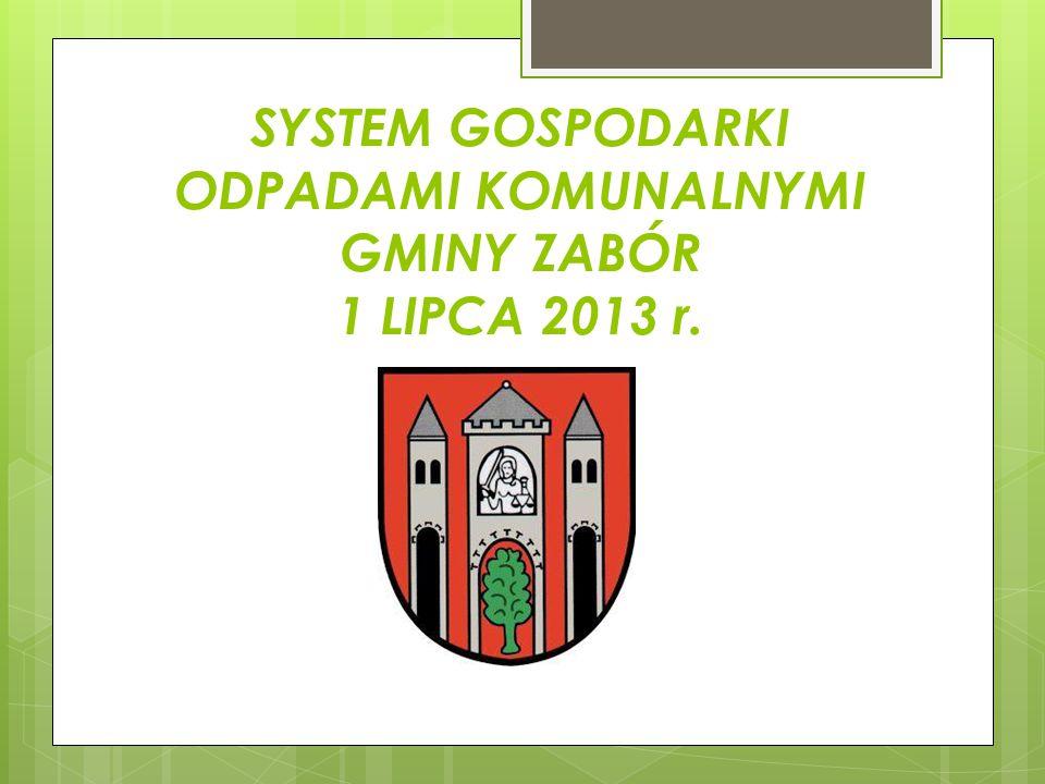 SYSTEM GOSPODARKI ODPADAMI KOMUNALNYMI GMINY ZABÓR 1 LIPCA 2013 r.