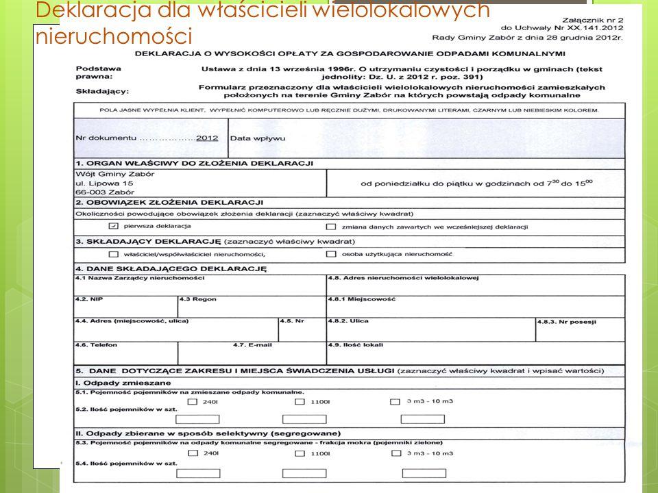 Deklaracja dla właścicieli wielolokalowych nieruchomości