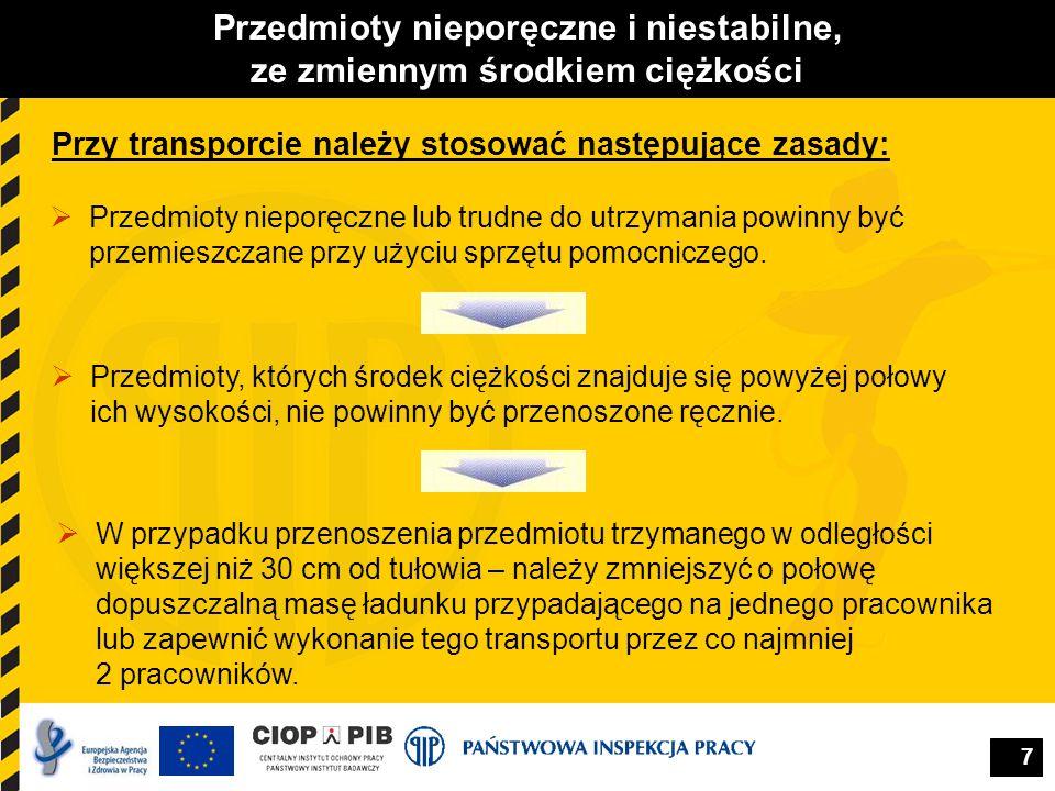 7 Przedmioty nieporęczne i niestabilne, ze zmiennym środkiem ciężkości Przy transporcie należy stosować następujące zasady:  Przedmioty nieporęczne l