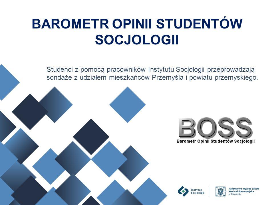 Studenci z pomocą pracowników Instytutu Socjologii przeprowadzają sondaże z udziałem mieszkańców Przemyśla i powiatu przemyskiego. BAROMETR OPINII STU