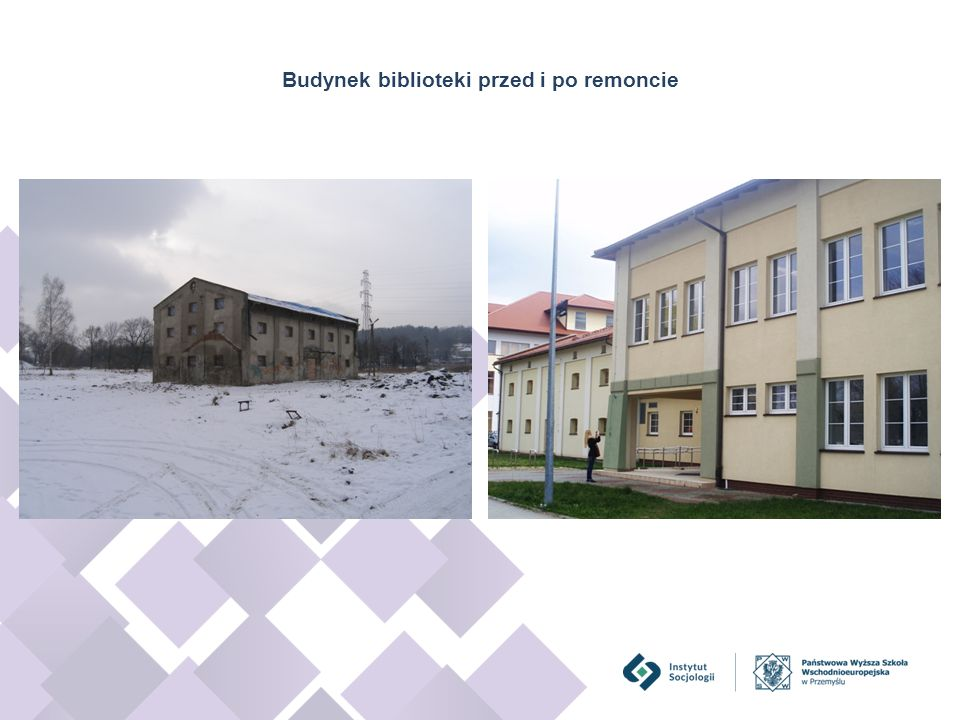 Budynek biblioteki przed i po remoncie