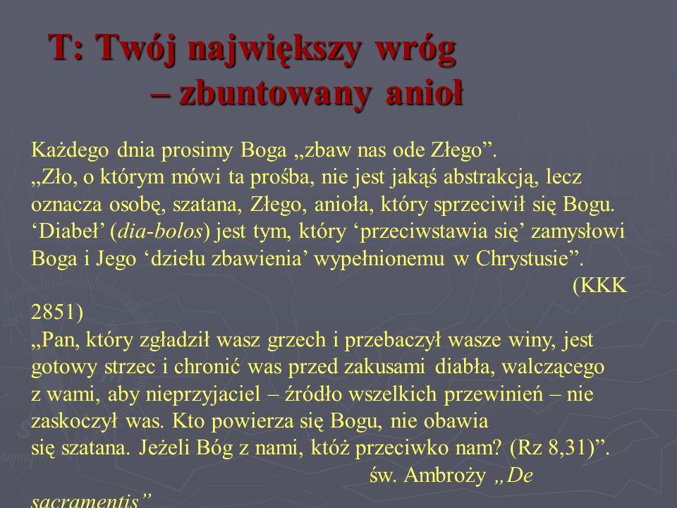 T: Twój największy wróg – zbuntowany anioł Praca domowa Wyjaśnij znaczenia imion: Lucyfer, Belzebub, Lewiatan, Nergal, Belial.