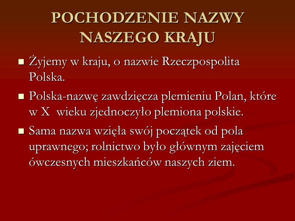 POCHODZENIE NAZWY NASZEGO KRAJU Żyjemy w kraju, o nazwie Rzeczpospolita Polska. Żyjemy w kraju, o nazwie Rzeczpospolita Polska. Polska-nazwę zawdzięcz