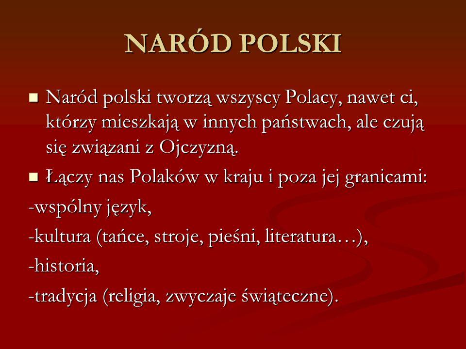 NARÓD POLSKI Naród polski tworzą wszyscy Polacy, nawet ci, którzy mieszkają w innych państwach, ale czują się związani z Ojczyzną. Naród polski tworzą
